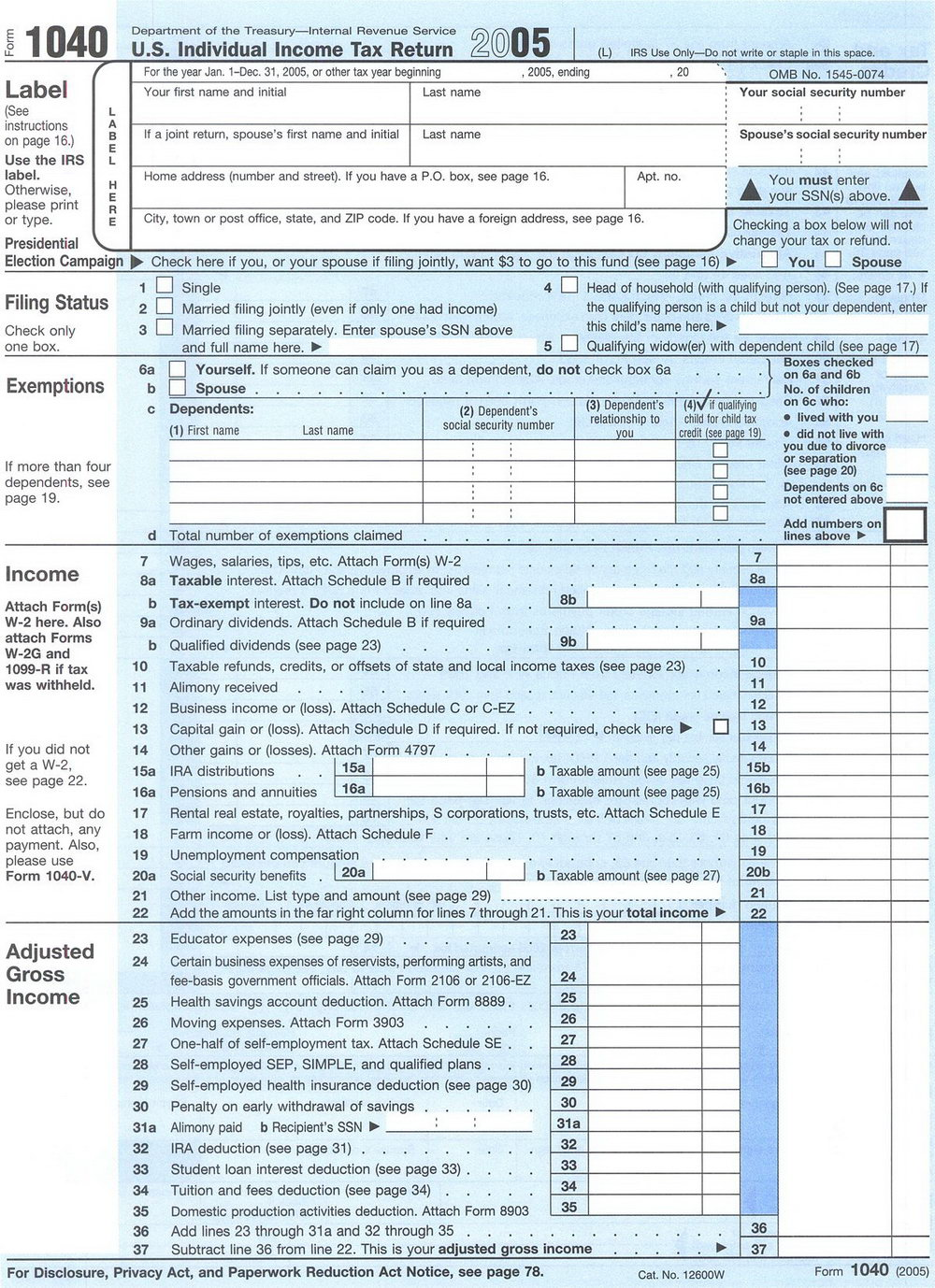 Federal Tax Forms 1040ez
