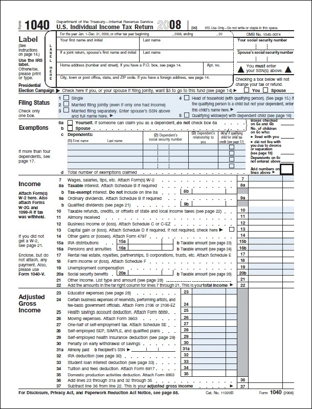 Federal Tax Return Form 1040a