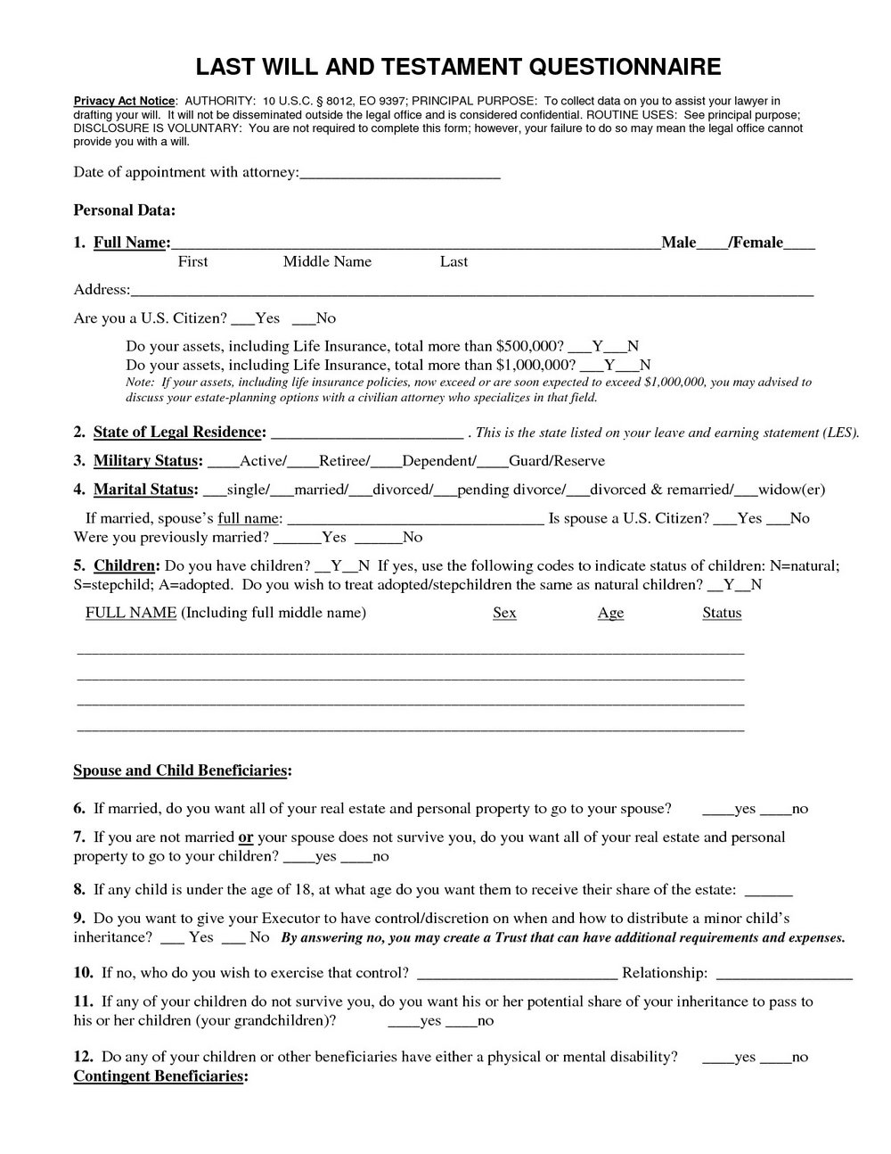 Free Printable Last Will And Testament Blank Forms