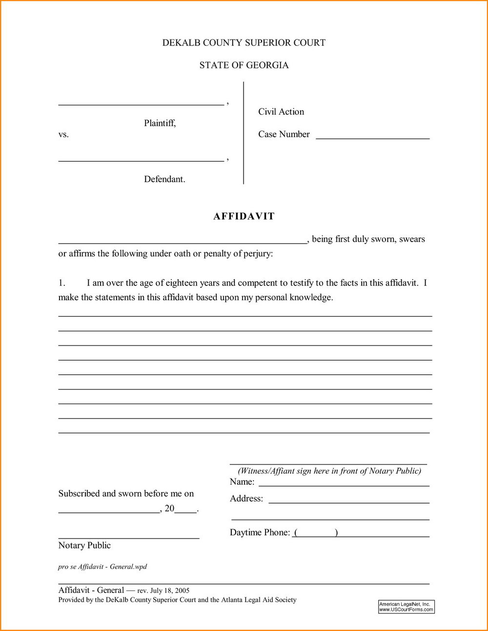 Free Small Estate Affidavit Form North Carolina