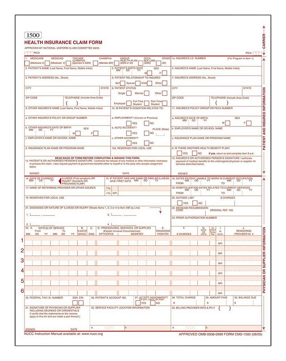 Hcfa 1500 Claim Form