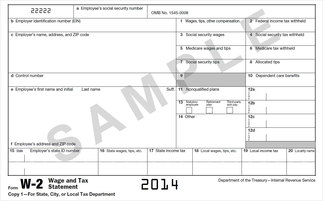 Irs W2 Form 2014 Fillable