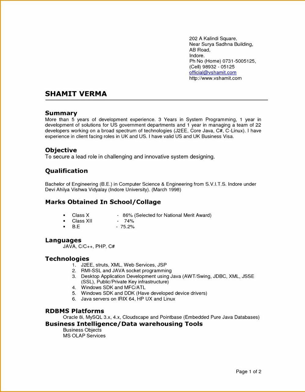 Latest Resume Format Doc