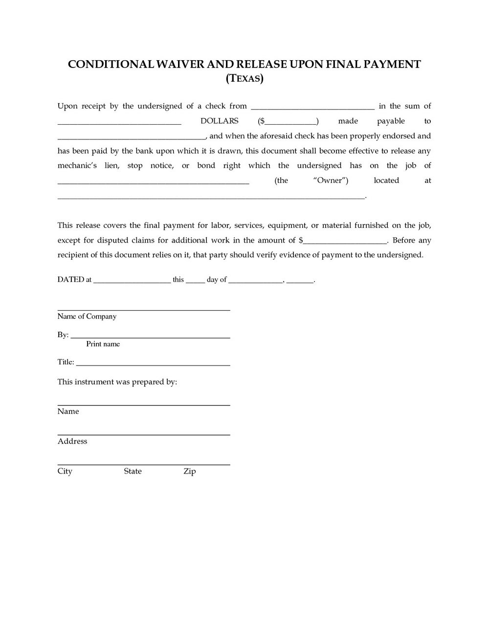 Mechanics Lien Form Florida