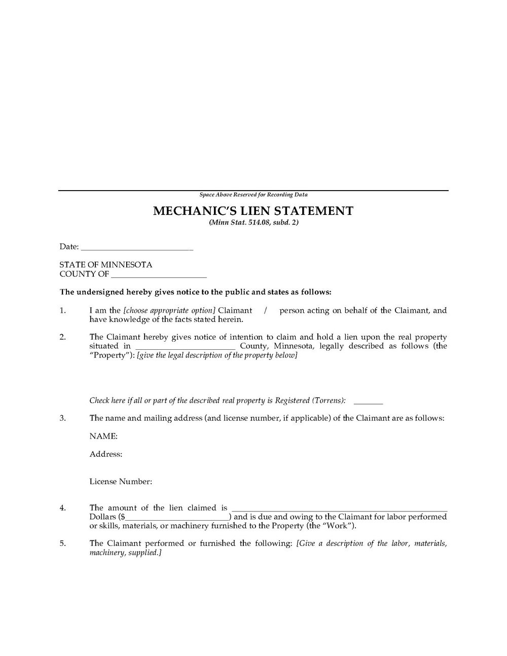 Mechanics Lien Form Ny