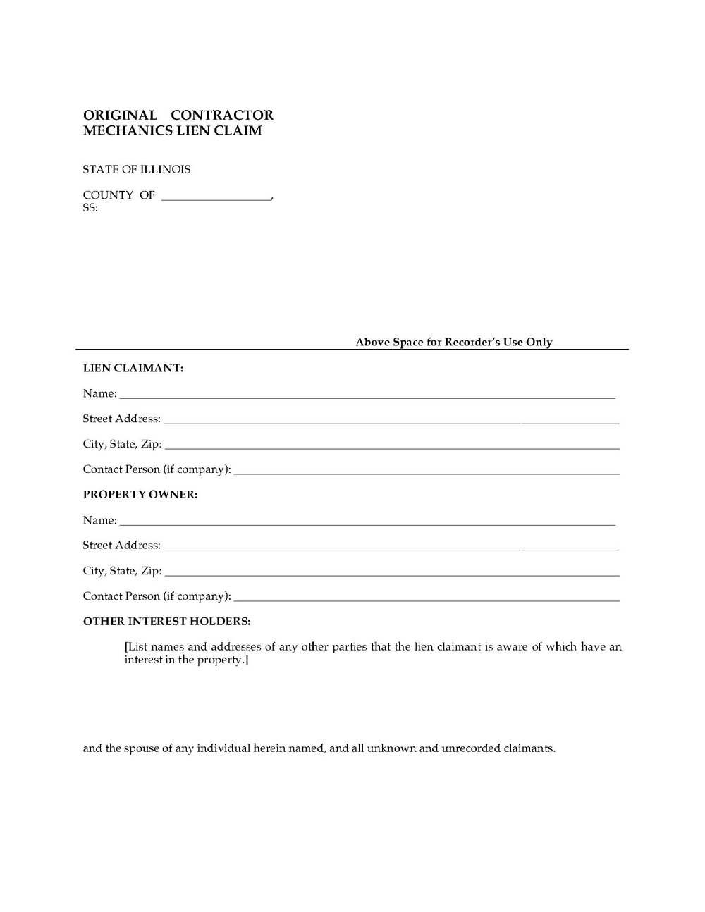 Mechanics Lien Form Pdf
