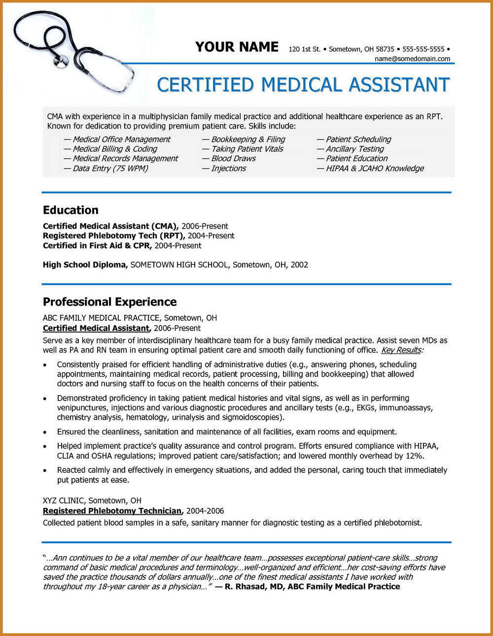 Medical Assistant Resumes And Cover Letters