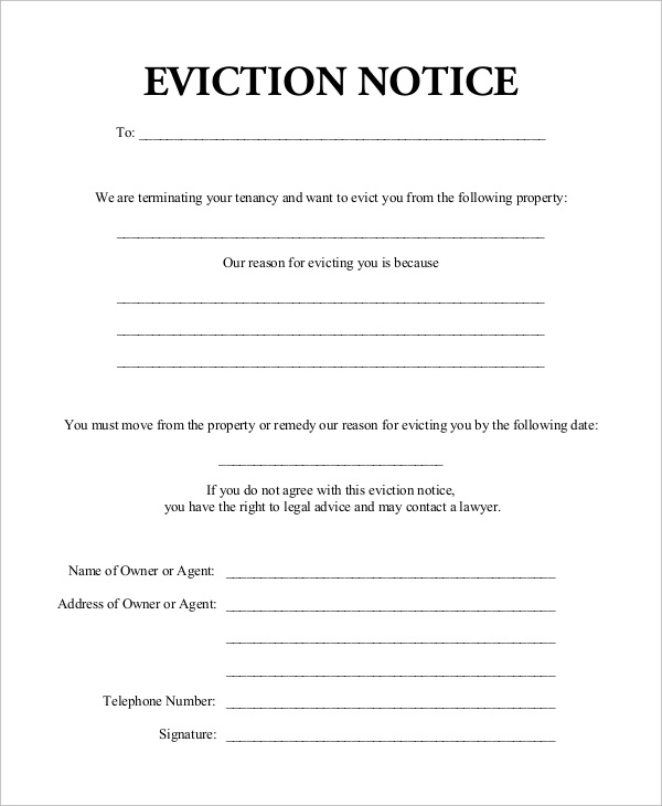 Notice Of Eviction Form Tennessee