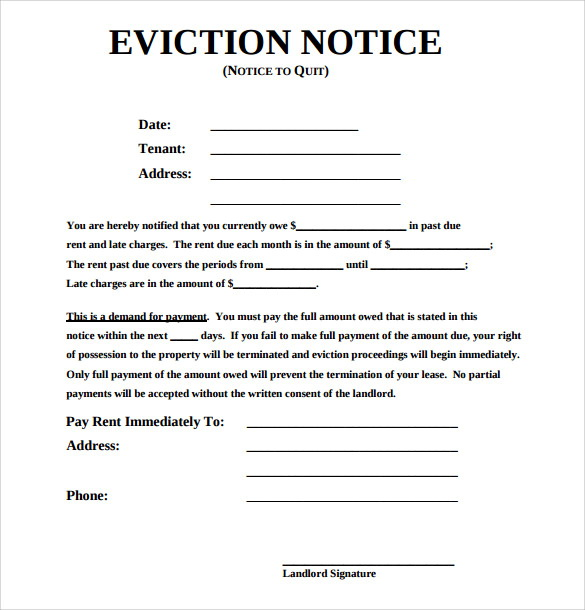 Notice Of Eviction Format