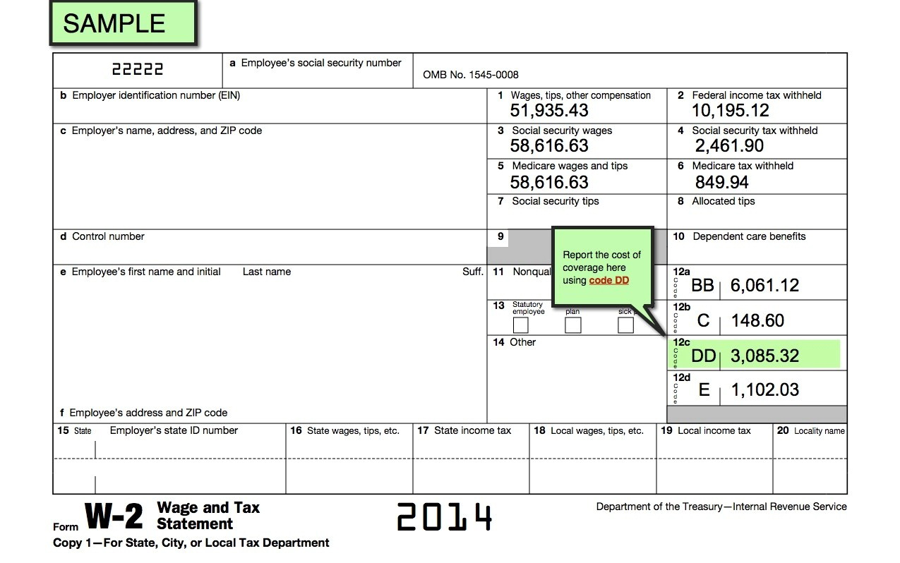 Printable Blank W2 Form 2014
