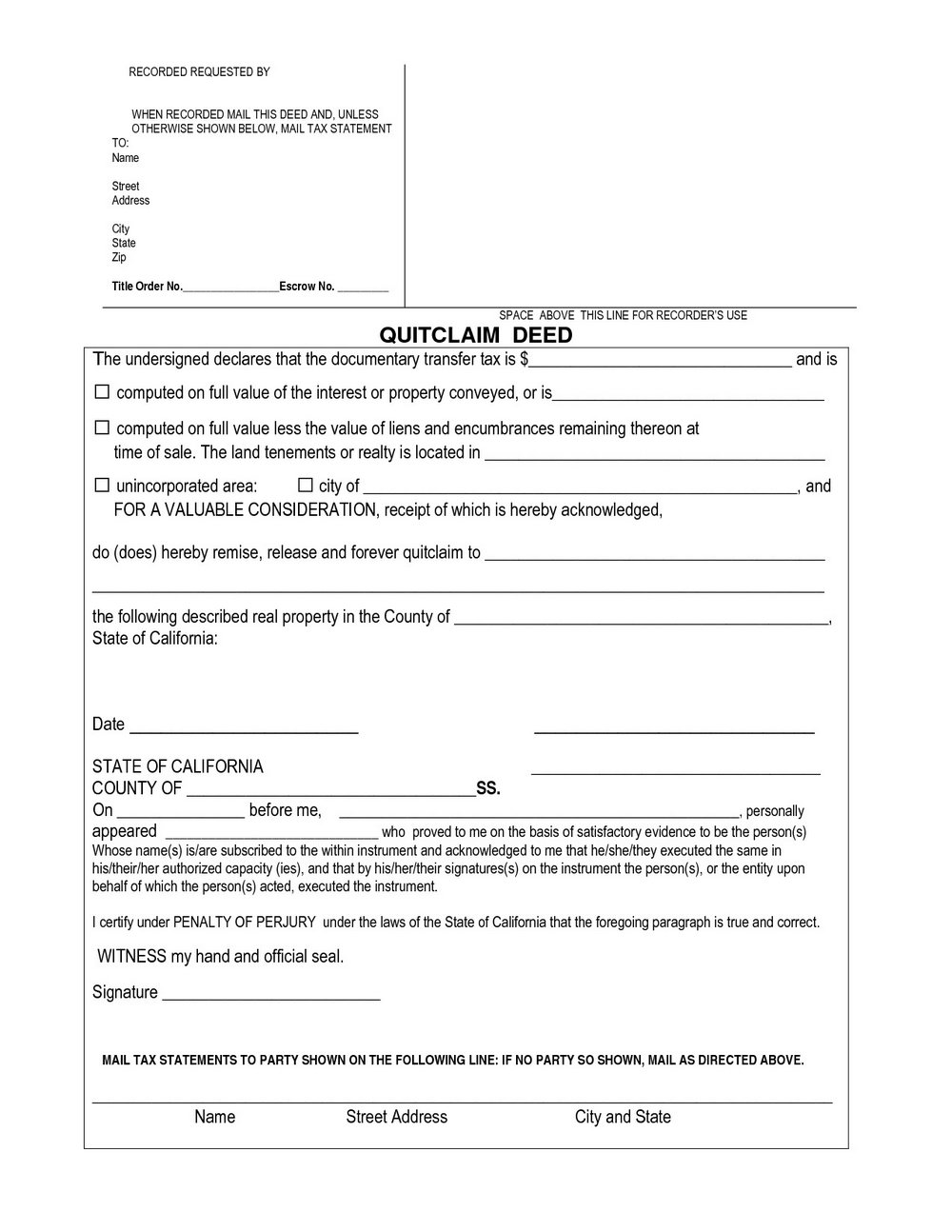 Quit Claim Deed Form California