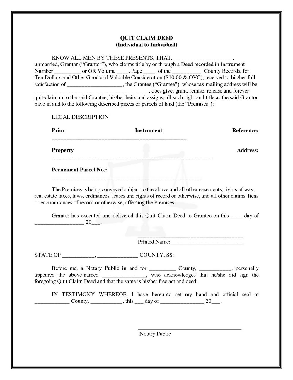 Quit Claim Deed Form Florida Sample