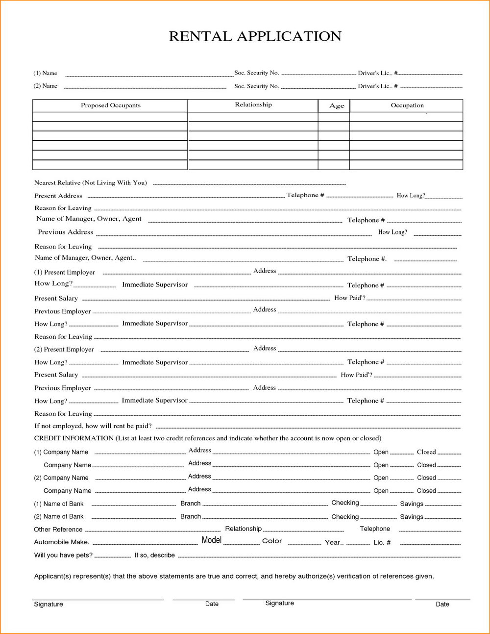 Renters Application Form