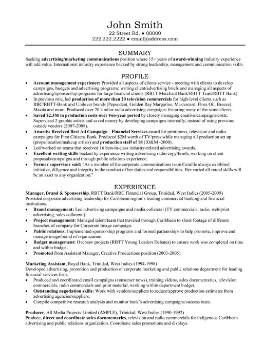 Resume Samples For Banking Professionals