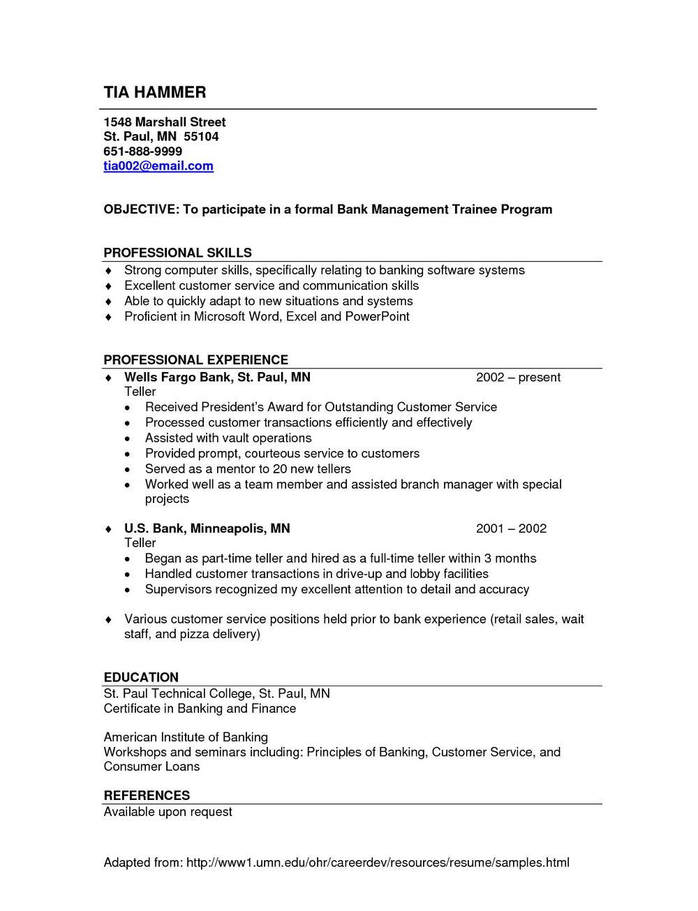 Resume Templates For Retail Jobs