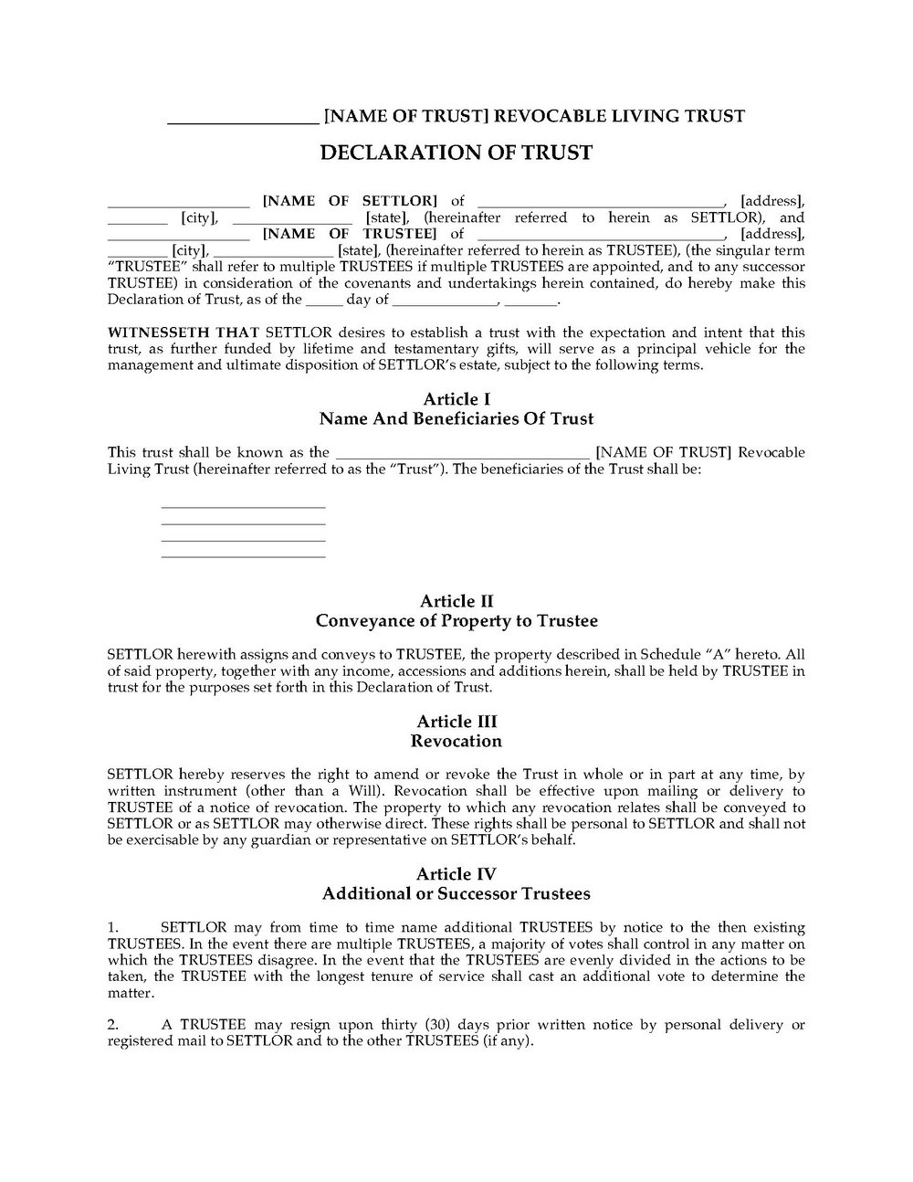 Revocable Living Trust Form California
