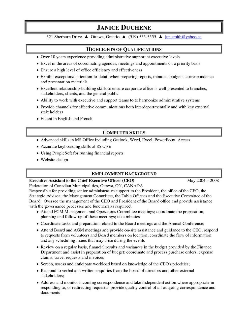 Sample Resume Templates Free Download