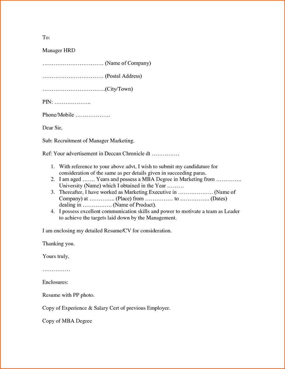 Simple Covering Letter For Job Vacancy