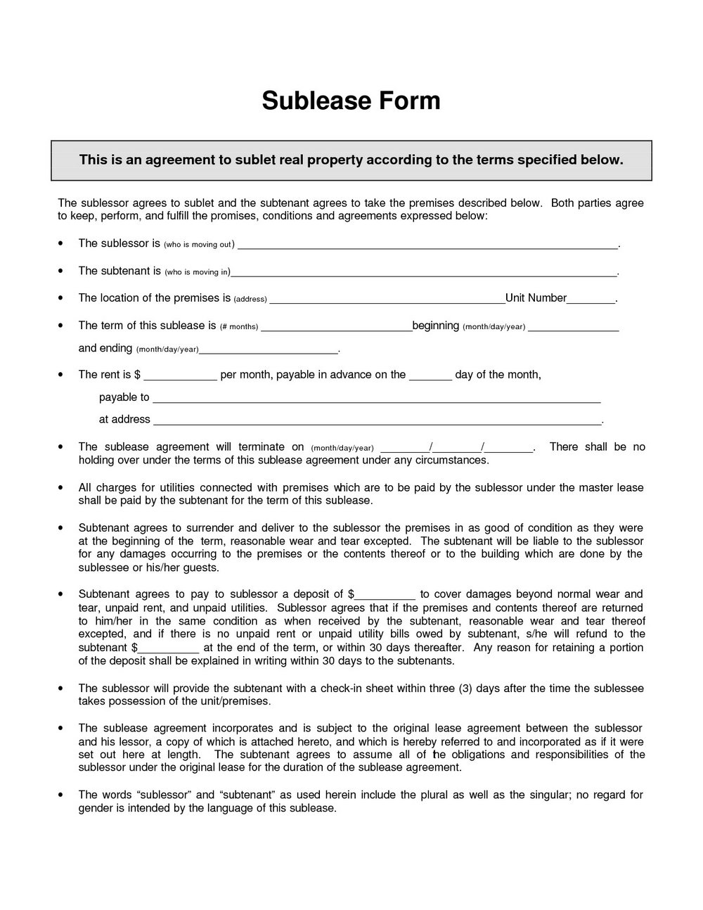 Sublease Agreement Format