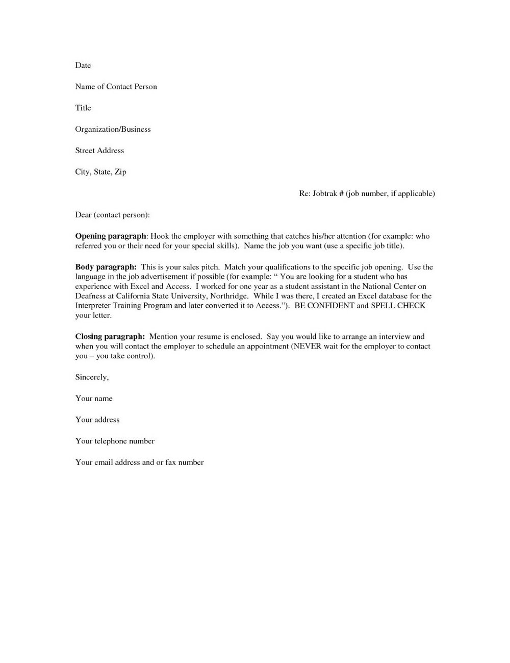 Templates For Resumes And Cover Letters
