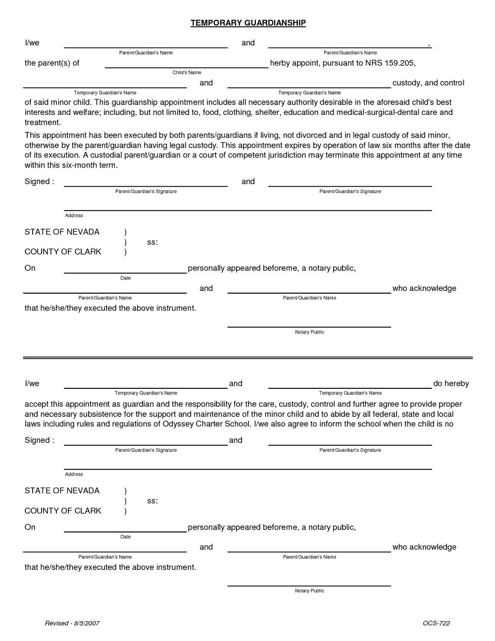 Temporary Guardianship Form Indiana