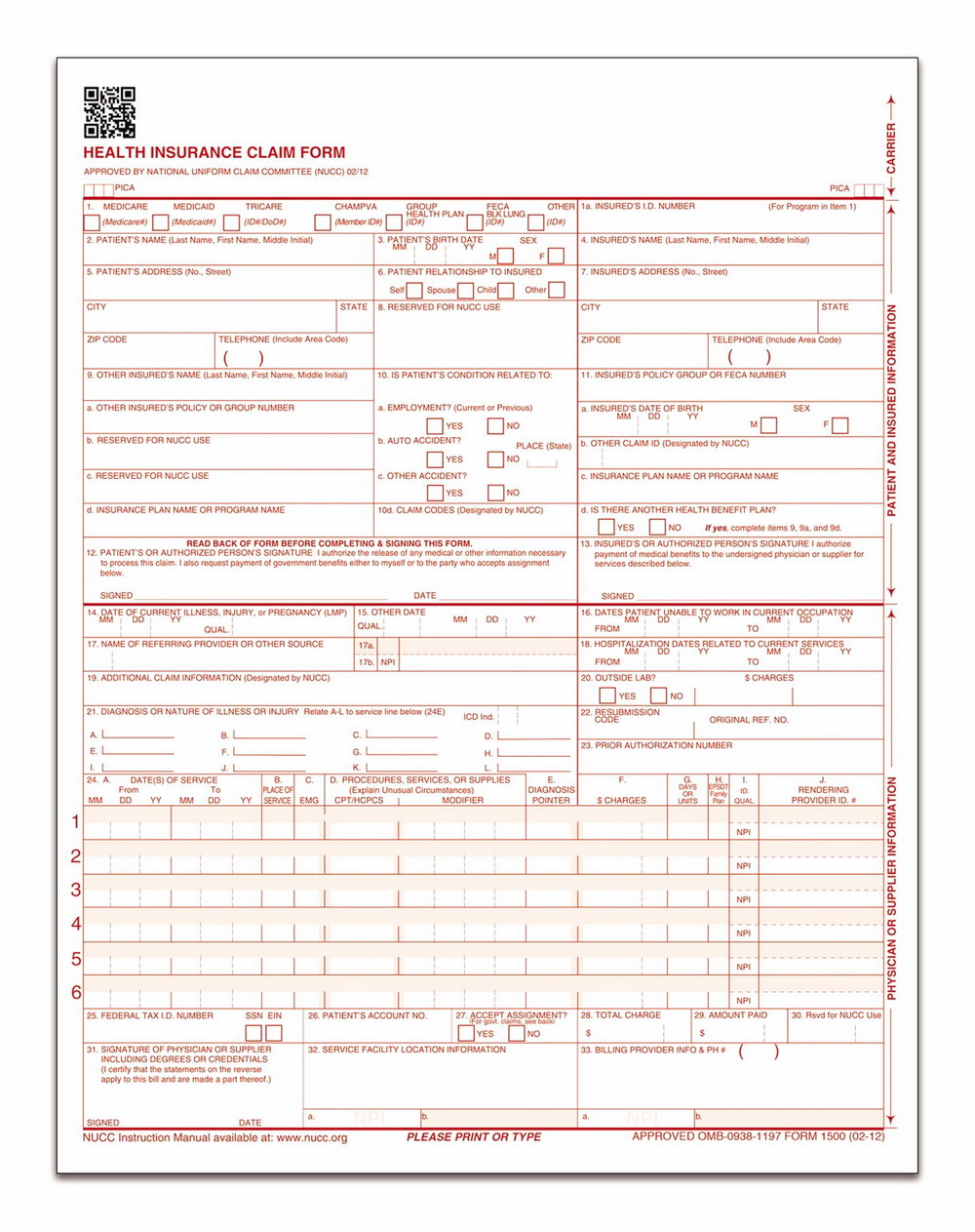 1500 Health Insurance Claim Form 02 12