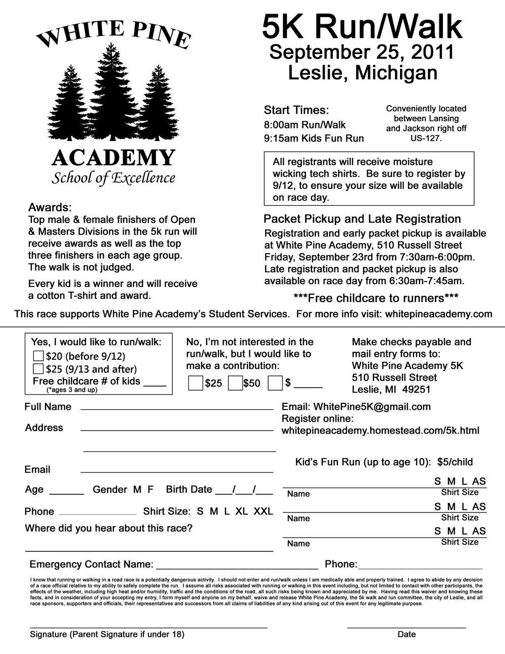 5k Registration Forms