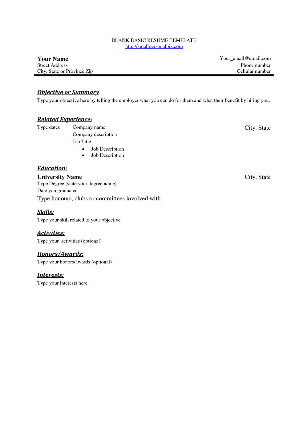 Blank Resume Format For Job