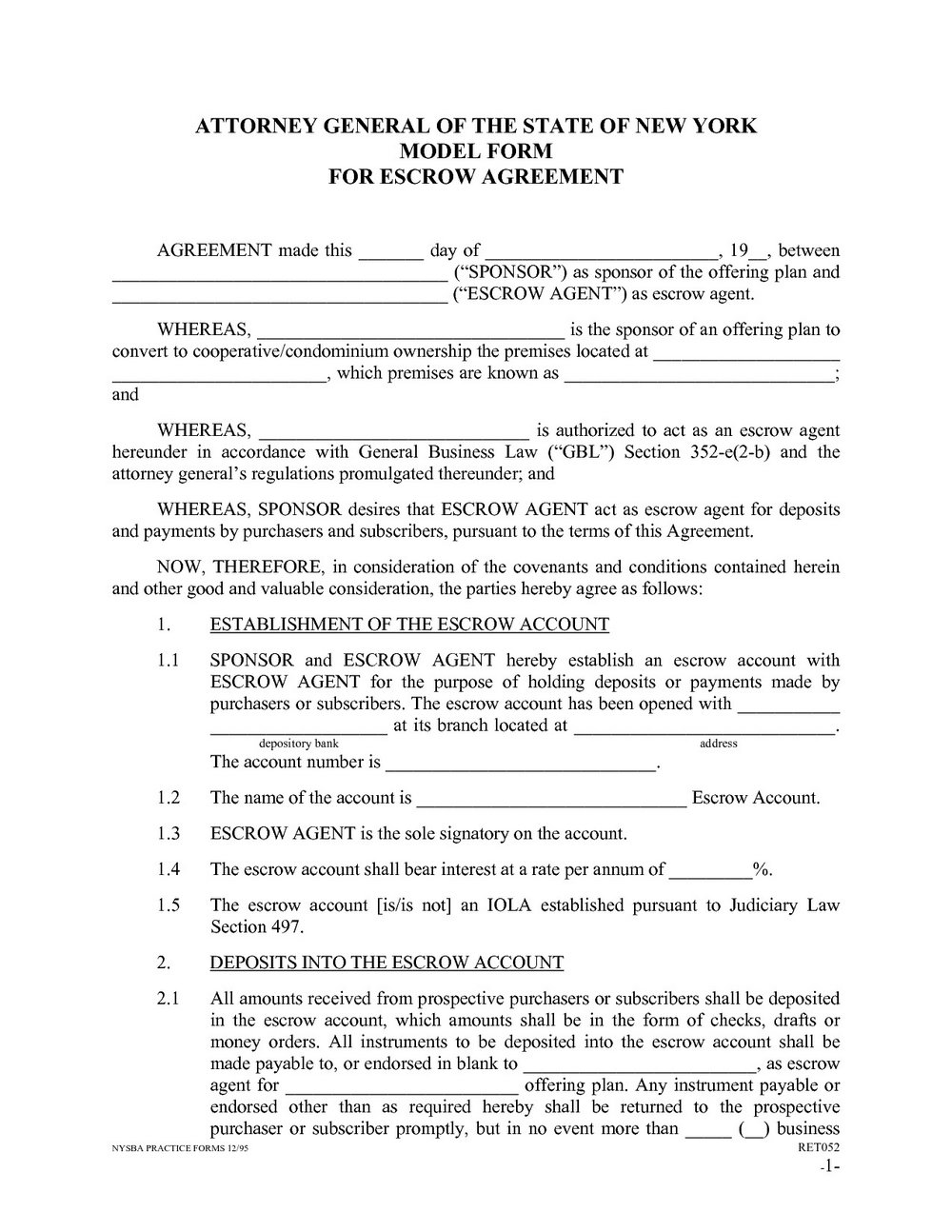 Escrow Agreement Format