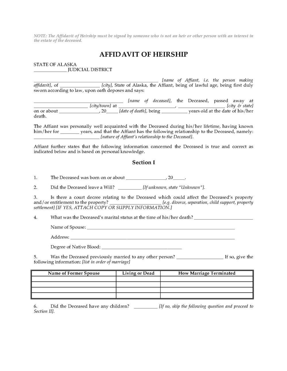 Free Affidavit Of Heirship Form California