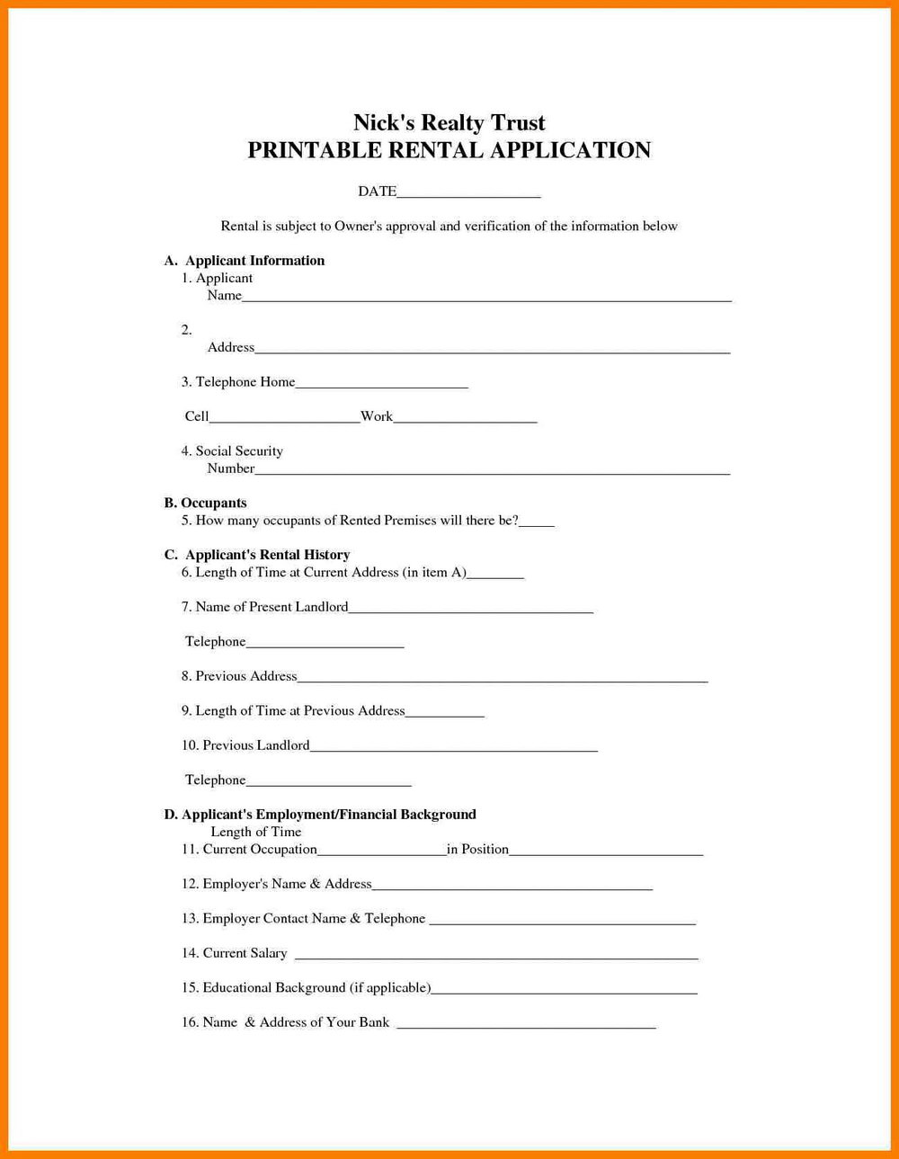 Free Lease Forms For Landlords
