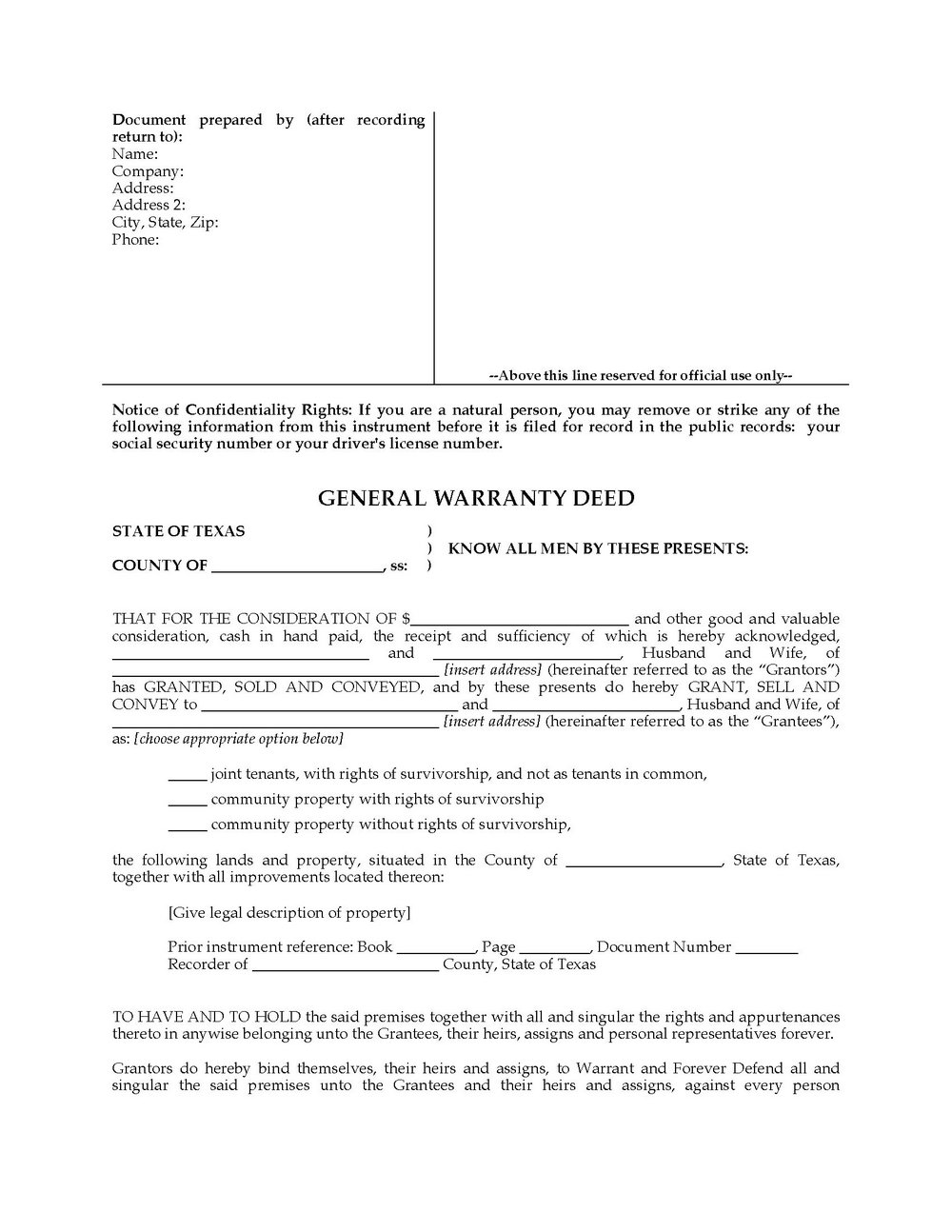 General Warranty Deed Form California