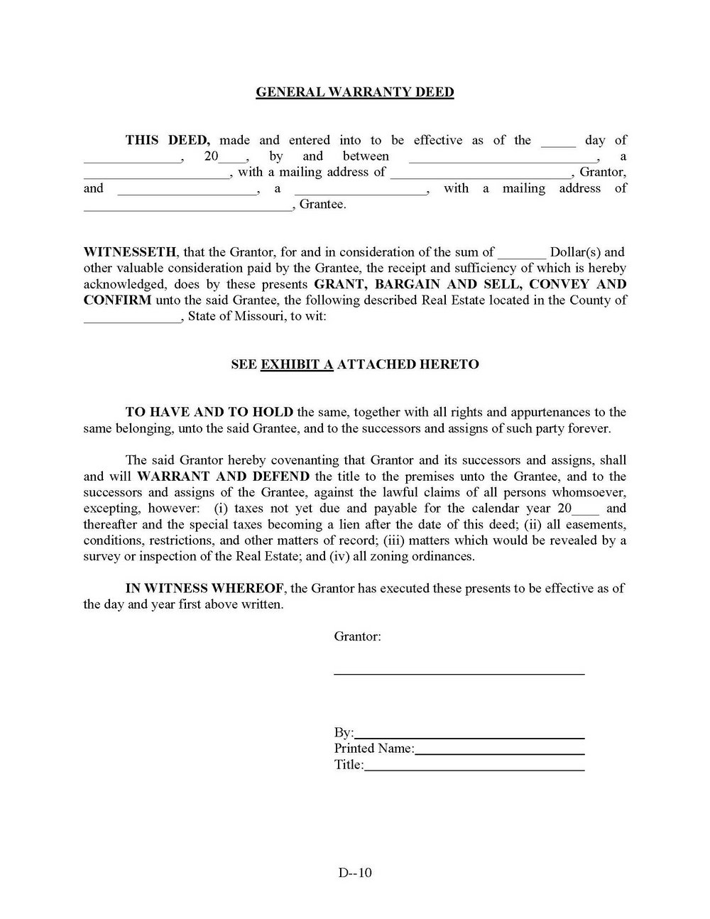 General Warranty Deed Form Texas