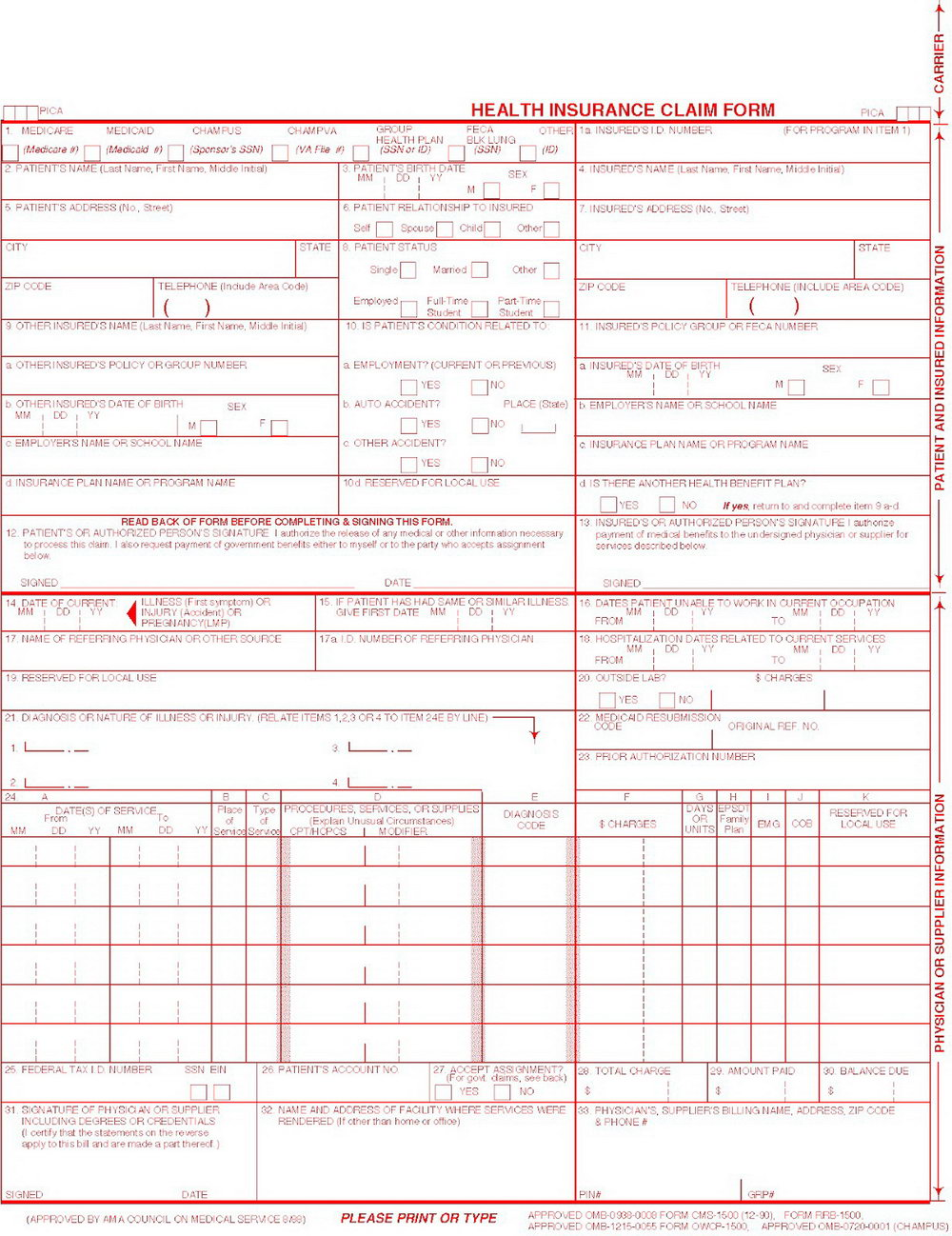 Hcfa 1500 Sample Form