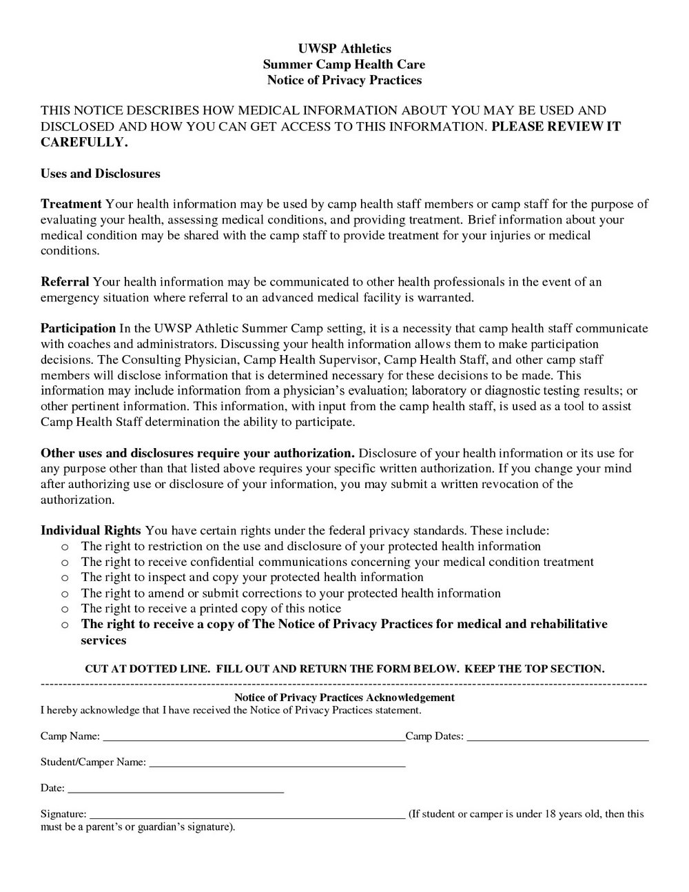 Hipaa Notice Of Privacy Practices Form Pdf