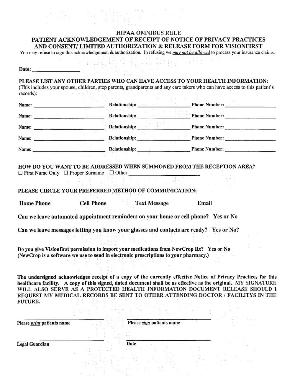 Hipaa Privacy Forms For Patients