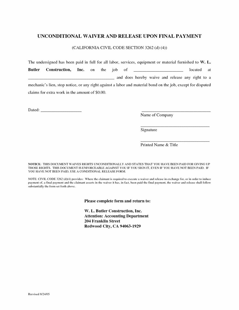 Mechanic Lien Form Template