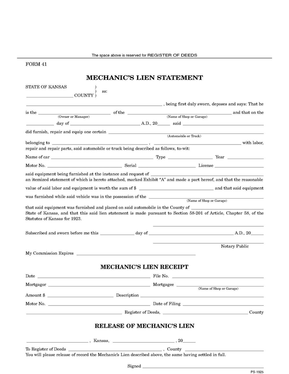 Mechanic Lien Form Texas