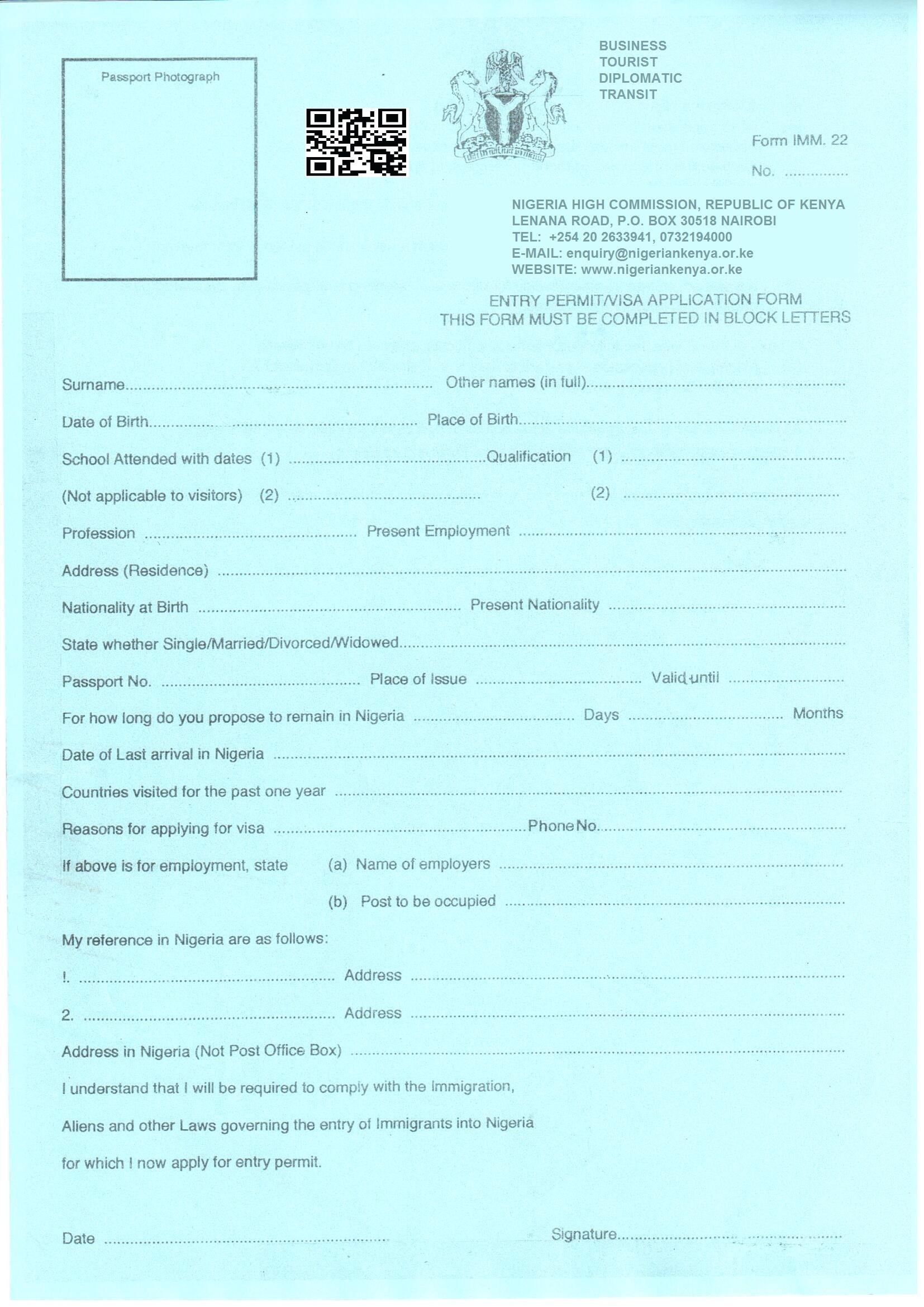 Nigerian Visa Application Form Uk
