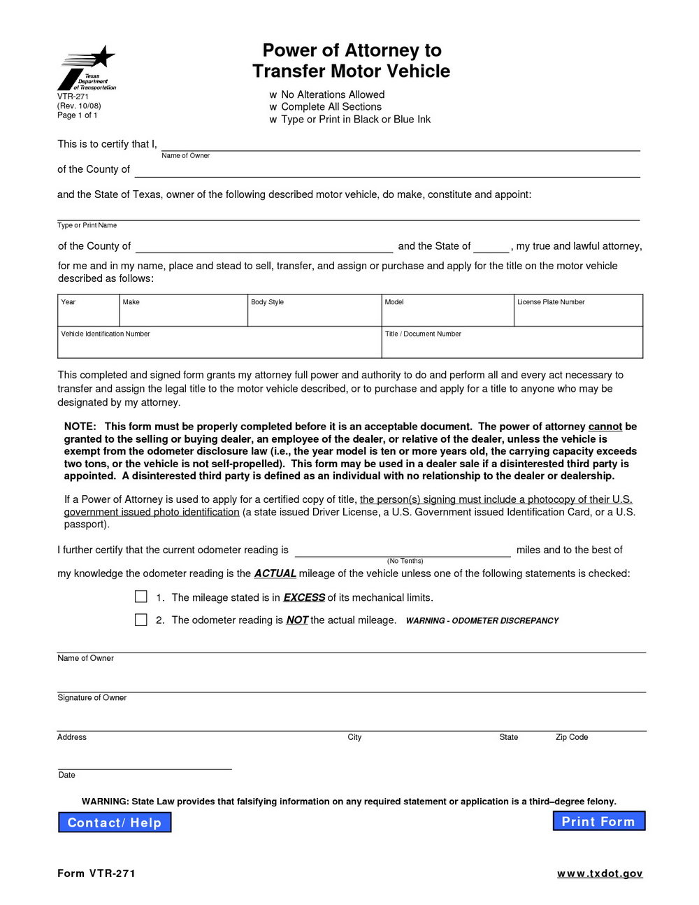 Power Of Attorney Form Nevada Dmv