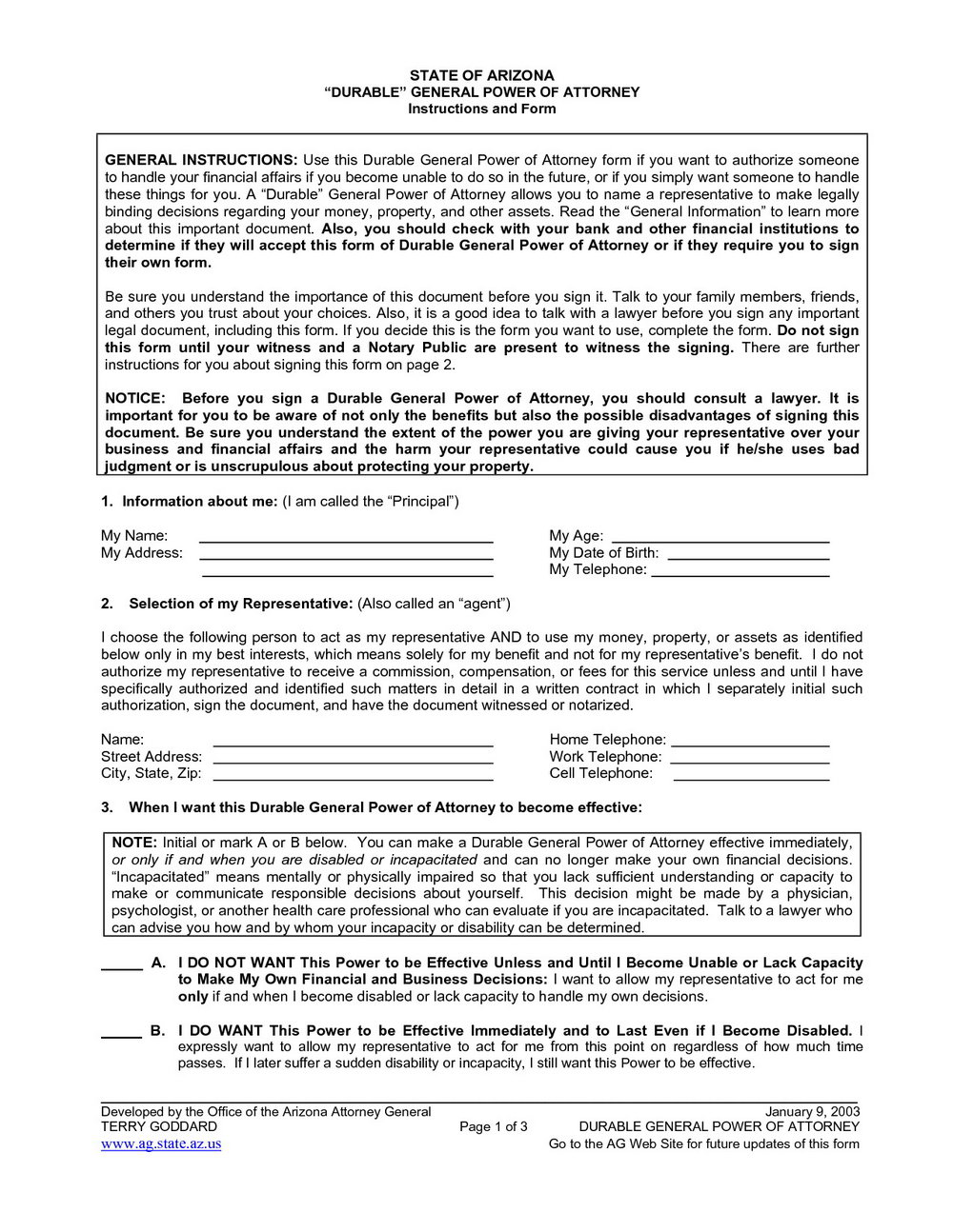Printable Durable Power Of Attorney Form Nc