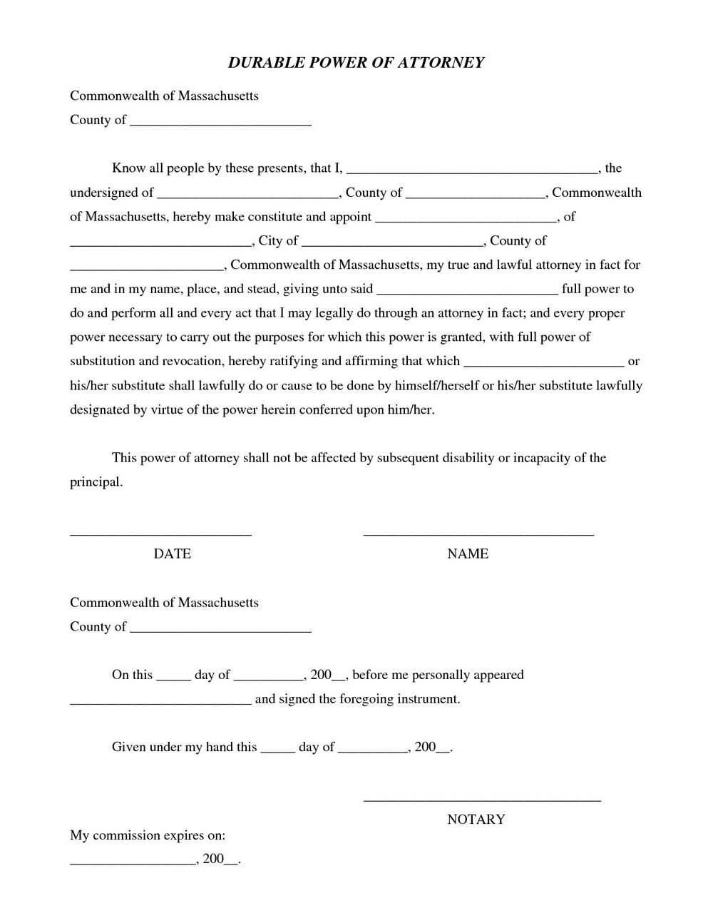 Printable Durable Power Of Attorney Form