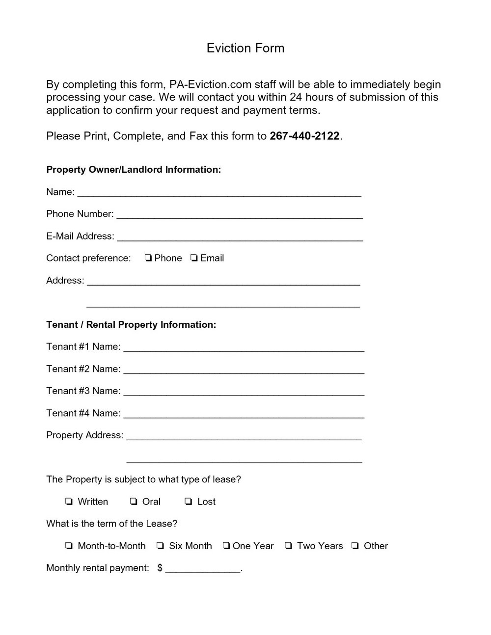 Printable Eviction Notice Form South Africa