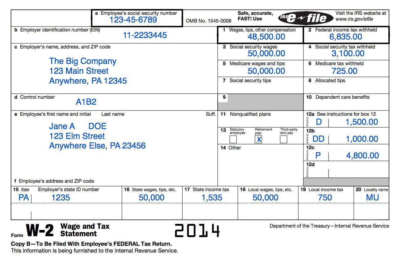 Printable W2 Forms 2014