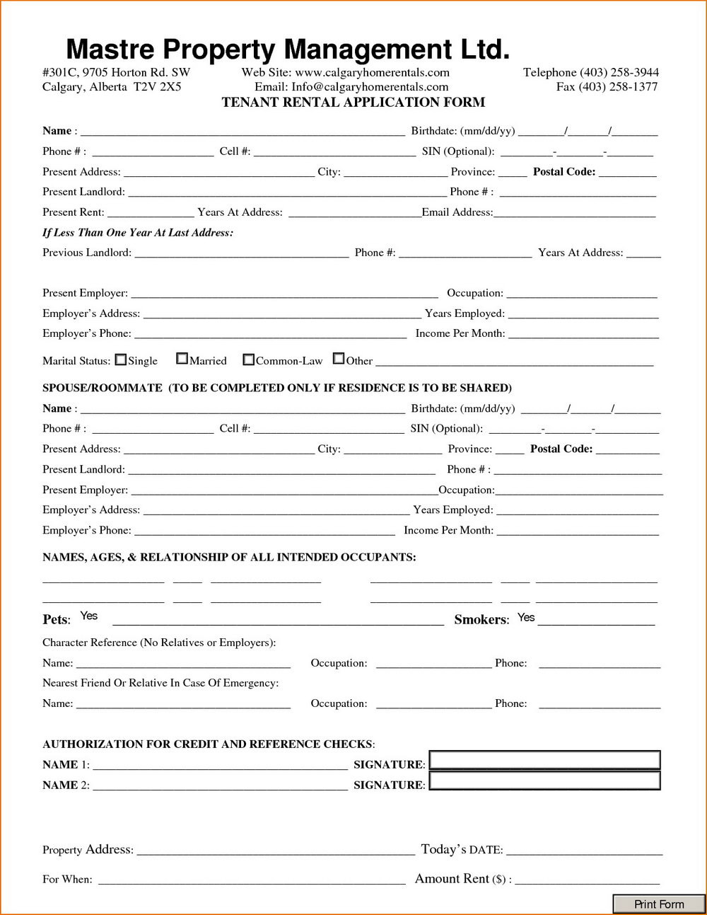 Rental Application Form Nc