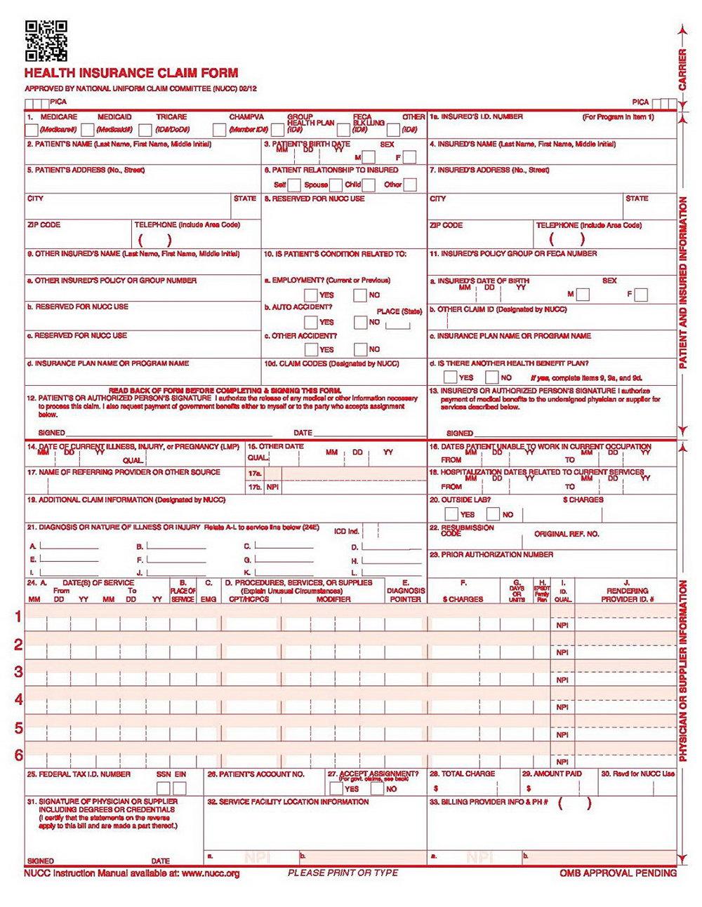 Sample Of 1500 Health Insurance Claim Form