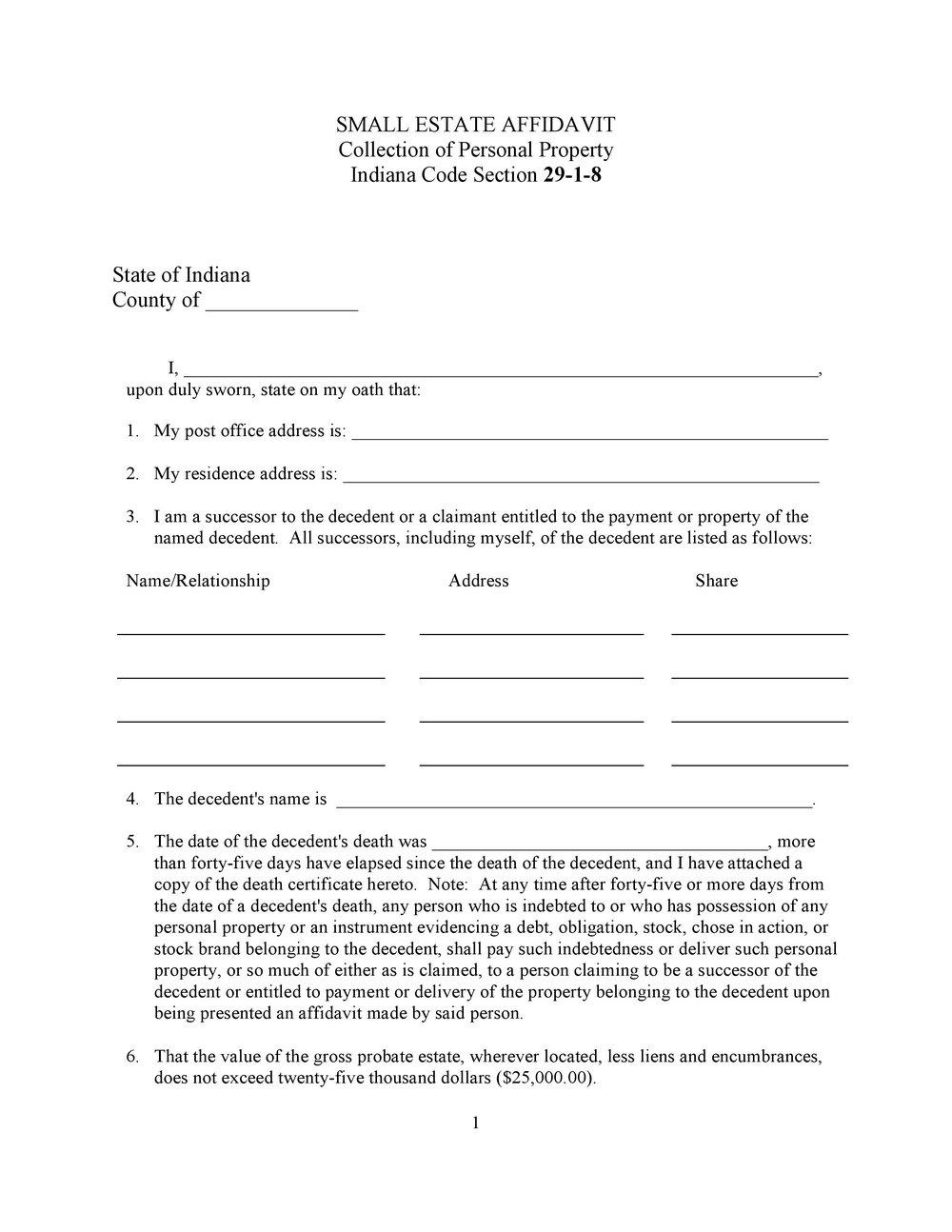 Small Estate Affidavit Form Texas