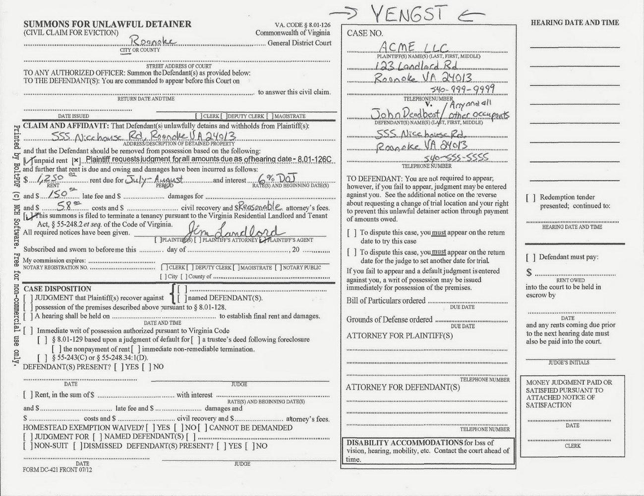 Unlawful Detainer Forms California