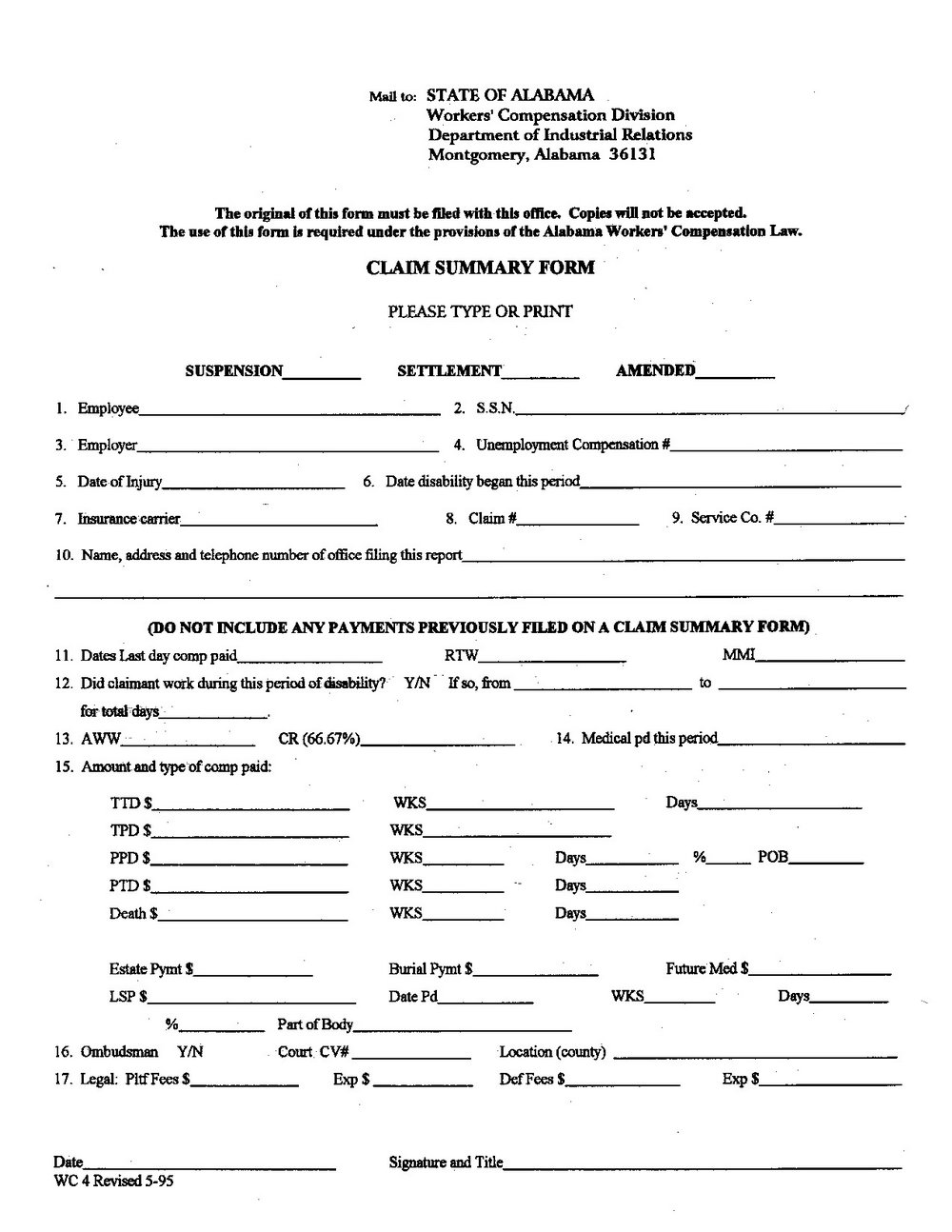Workers Comp Waiver Form Colorado
