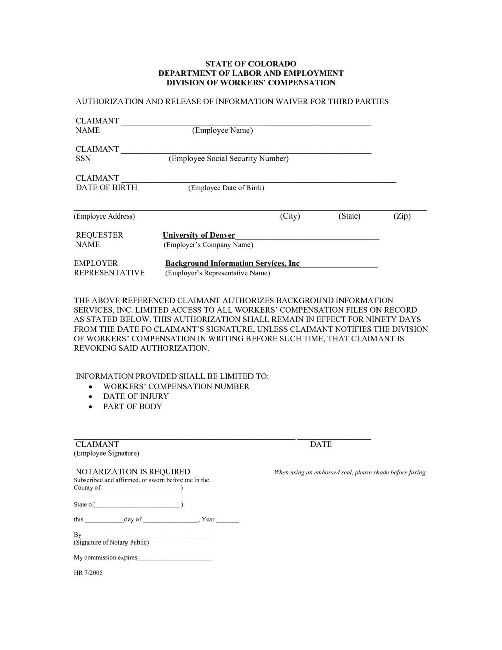 Workers Compensation Waiver Form
